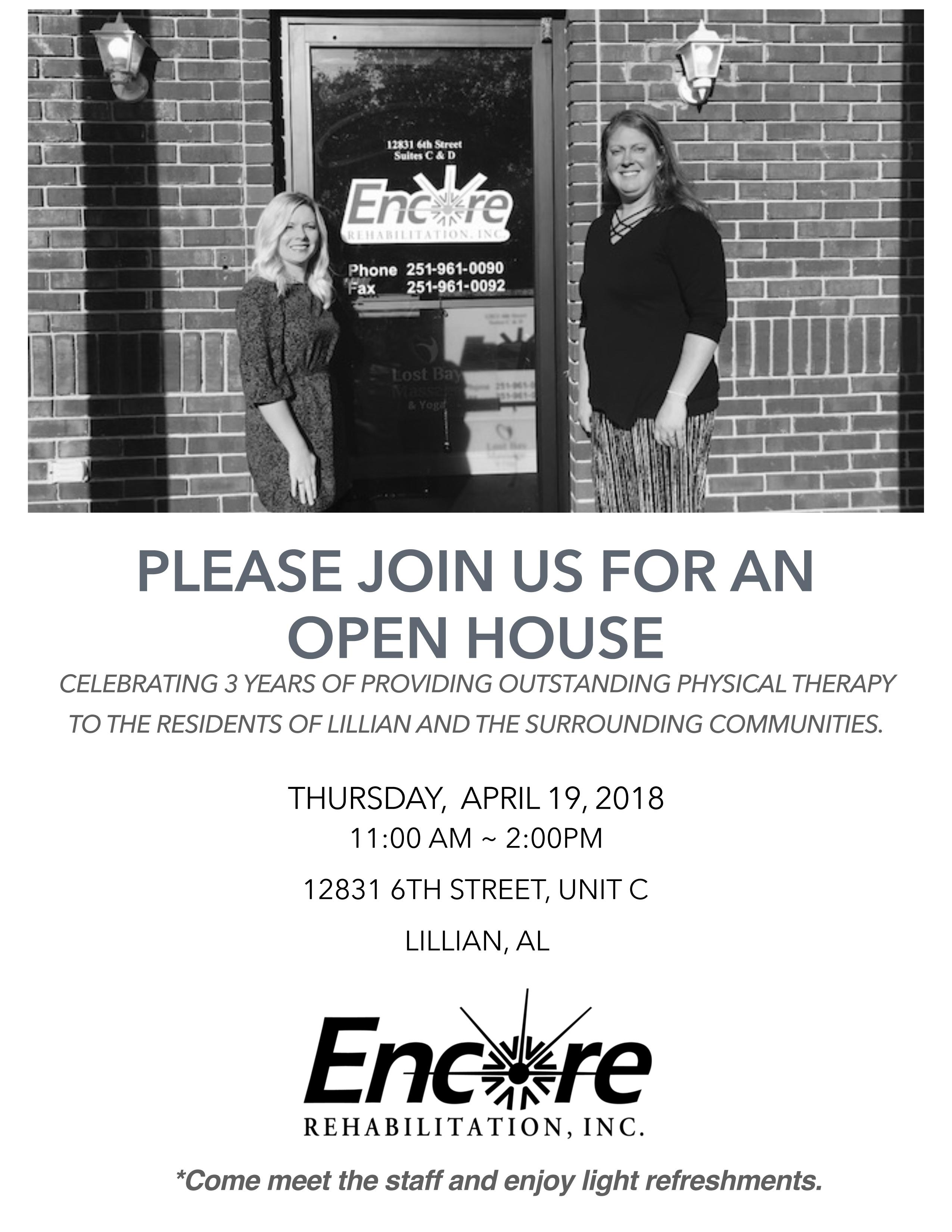 Encore Lillian Open House Invite