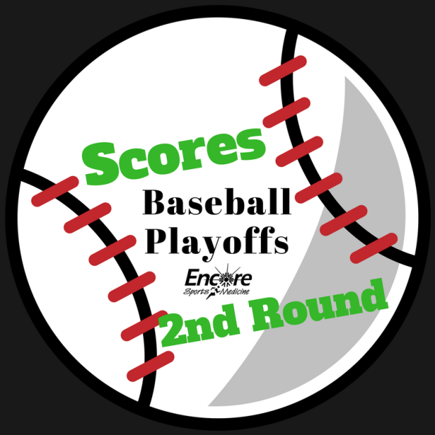 White baseball clip art with Scores, Baseball Playoffs, Second Round, Encore Sports Medicine on ball on black background