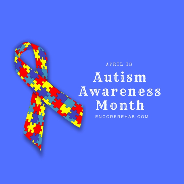 Puzzle design awareness ribbon with blue background April is Autism Awareness Month, encorerehab.com