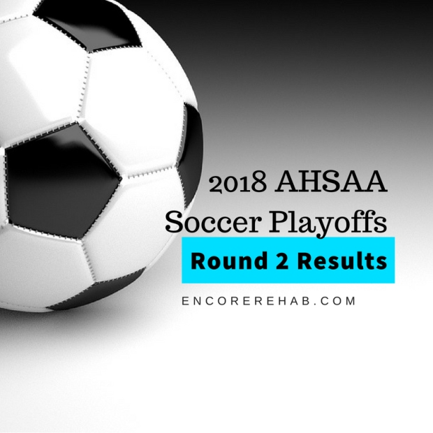 Large black and white soccer ball in upper left-hand corner with graphic reading 2018 AHSAA Soccer Playoffs Round 2 Results, encorerehab.com