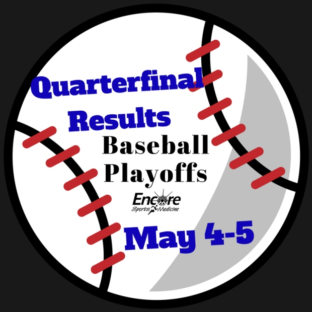 Baseball Graphic that reads Quarterfinal Results, Baseball Playoffs, May 4-5, Encore Sports Medicine