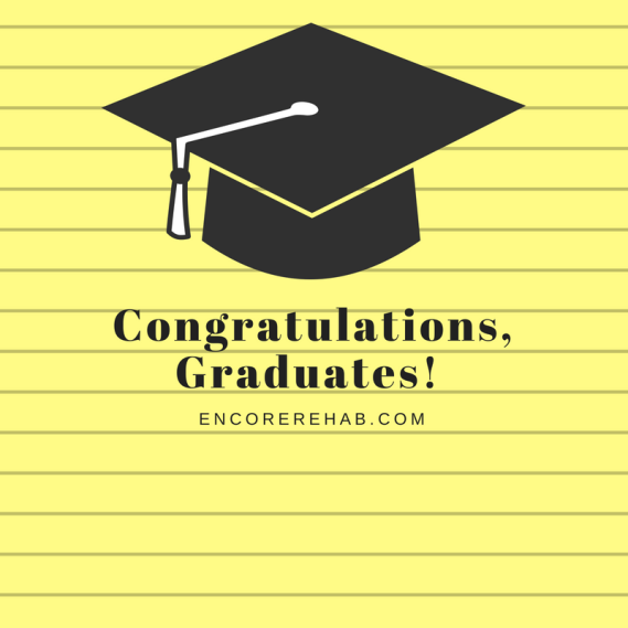 graduation cap on yellow notepaper background which reads Congratulations, Graduates! encorerehab.com