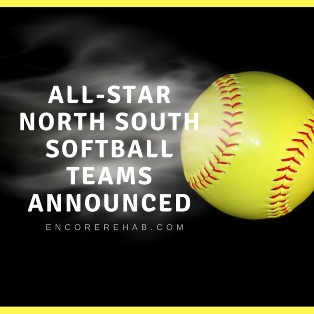 Bright yellow softball with billowy smoke following read All Star North South Softball Teams Announced followed by encorerehab.com