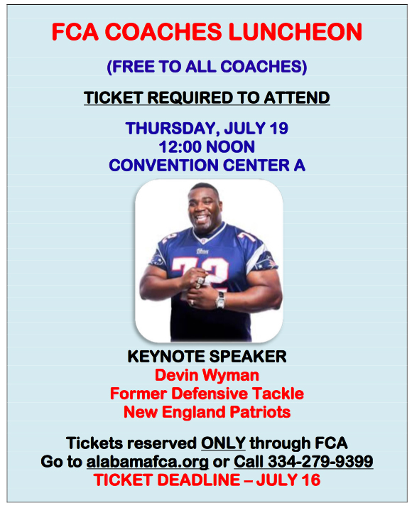 AHSAA All-Star FCA Coaches Luncheon Info, July 19, 2018