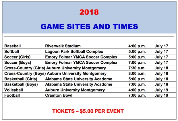 AHSAA 2018 All-Star Game Sites and Times Schedule