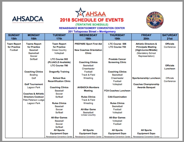 AHSAA All-Star Week Daily Schedule of Events