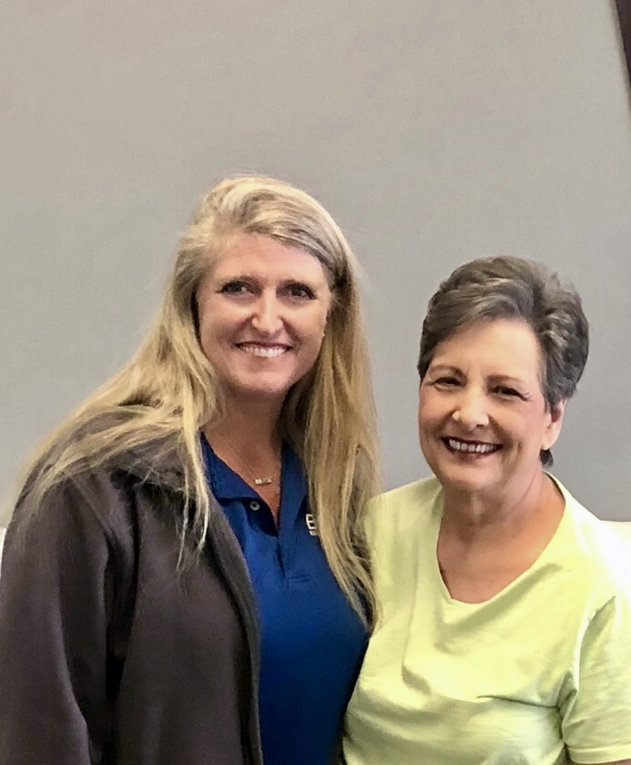 Encore Rehabilitation Therapist Marla Kizzire posing with Betty Crowley, Patient of the Month for Encore Rehabilitation-Fayette