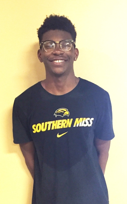 Young athlete smiling for photo is Jayren Leflore Athlete of the Month for Encore Rehabilitation-Oak Grove, Mississippi