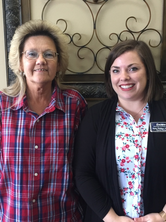 Jennie Driver with Encore Rehabilitation Physical Therapist Taylor Phillips