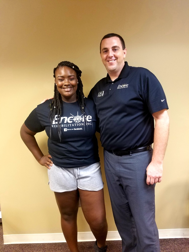 Tae'yona Glanton-Patient of the Month for Encore Rehabilitation-Eufaula with Clinical Director Brandon Addison, DPT