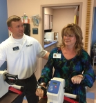 Vanessa Folsom is assisted in her rehab by Encore Rehabilitation Physical Therapist Assistant Josh Skipper.