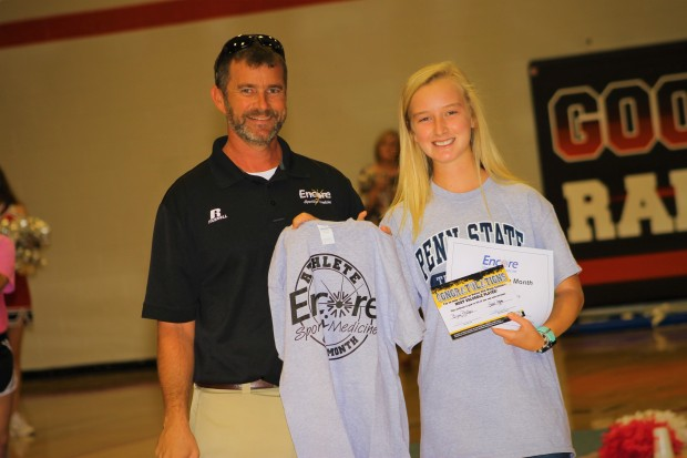 Athlete of the Month Bijou Phillips of Good Hope High School with Encore Rehabilitation-Cullman Athletic Trainer Bo Shirey. #EncoreRehab