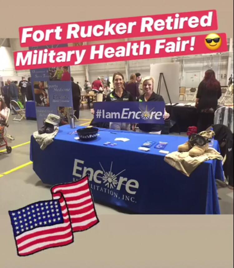 Encore Rehabilitation at the Fort Rucker Retired Military Health Fair - #EncoreRehab