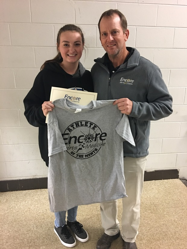 Cold Springs High School & Encore Rehabilitation-Cullman Athlete of the Month Anna Kate Freeman Voce with Encore Sports Medicine Athletic Trainer Stanley Johnson #EncoreRehab