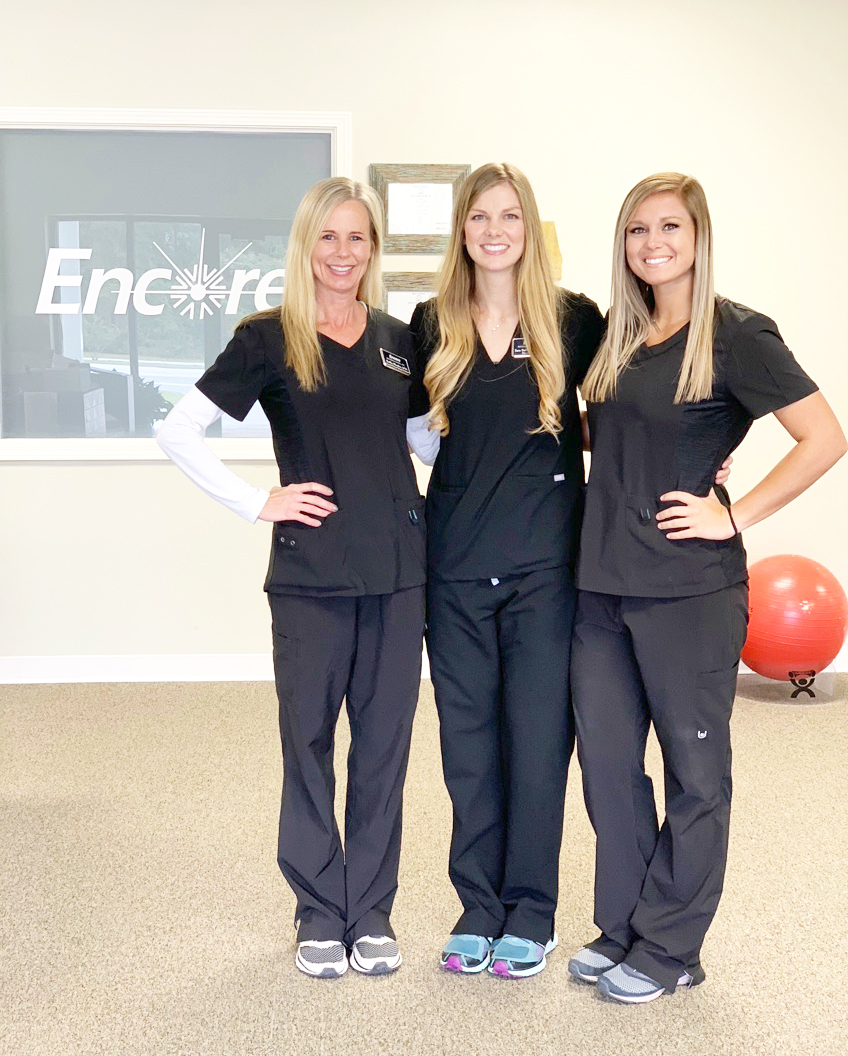 Welcome to Encore Rehabilitation-Spanish Fort! Left to right: Buffie Rhodes,PTA; Clinical Director Sara Stringfellow, DPT; and Kayla Jordan, PTA. #EncoreRehab