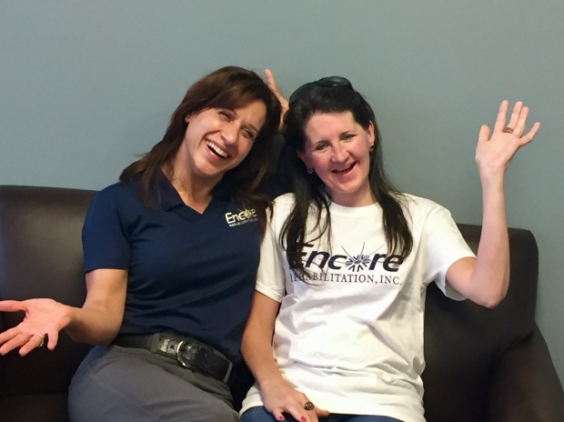 Shown here are Encore Rehabilitation-Phenix City Clinic Director Julia Krahm, DPT, with Kim Jones #EncoreRehab