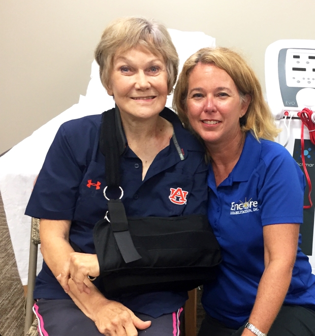 LaDallion Wiles with Encore Rehabilitation Physical Therapist Kristie Anderson