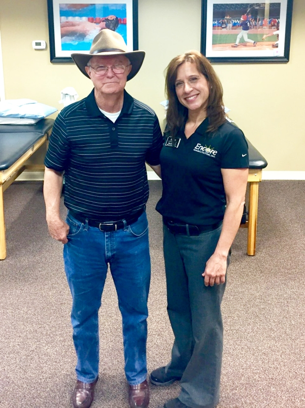 Patient Woody Brown with Encore Rehabilitation Physical Therapist Julia Krahm