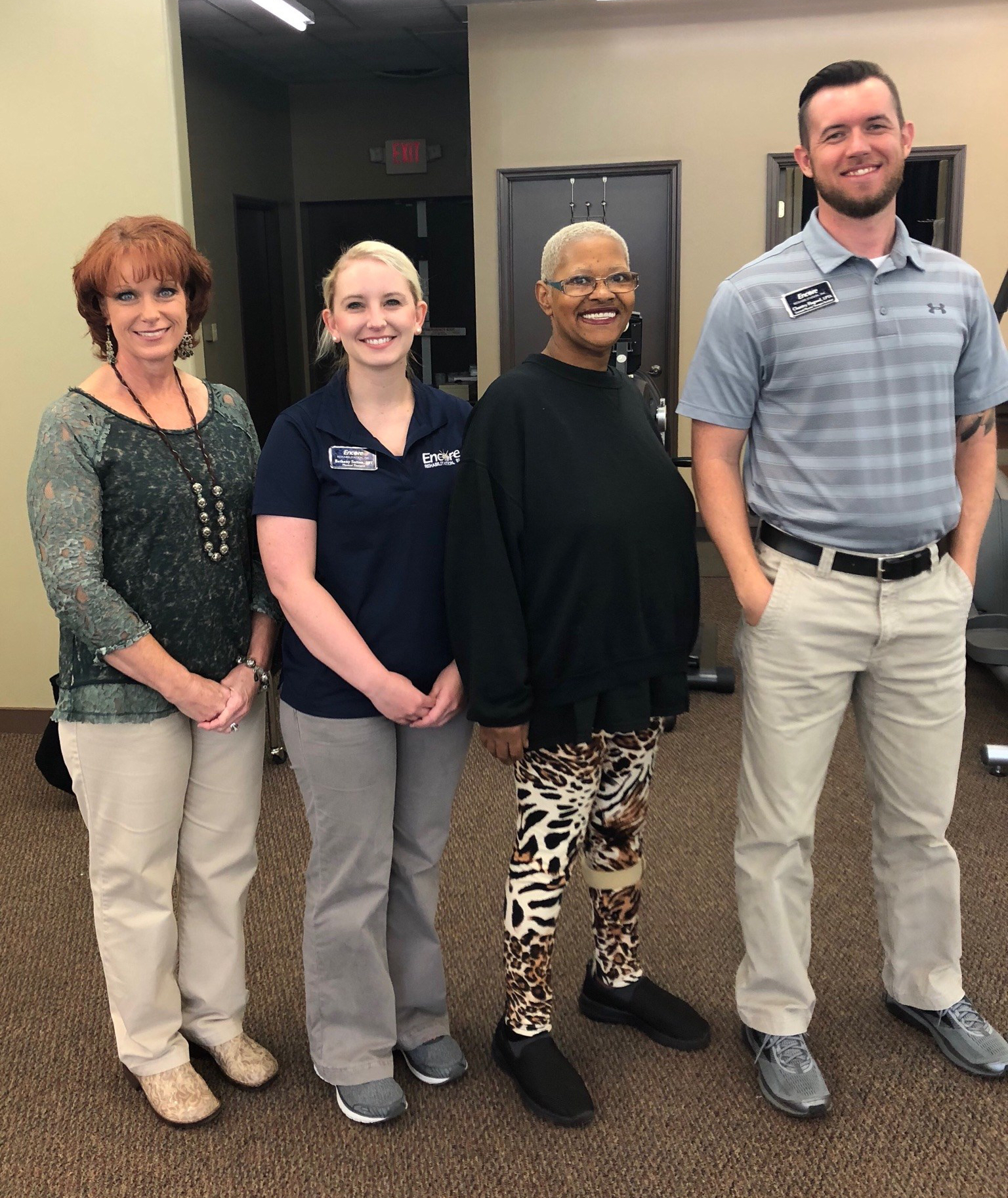 Thelma Hubbard, third from the left, is with the staff of Encore Rehabilitation-Russellville