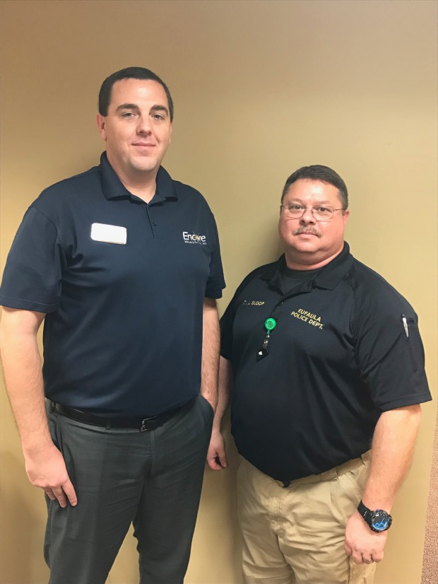 Encore Rehabilitation-Eufaula Clinic Director Brandon Addison with Lt. Jason Sloop of the Eufaula Police Department #EncoreRehab