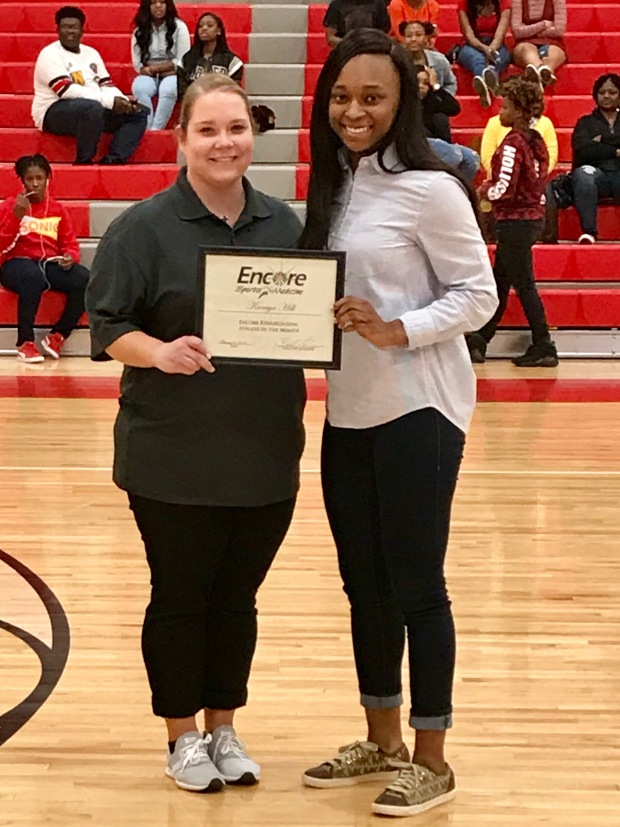 Kaniya Hill - Athlete of the Month for Encore Rehabilitation-Eufaula with Encore Sports Medicine Athletic Trainer Jessica McManus