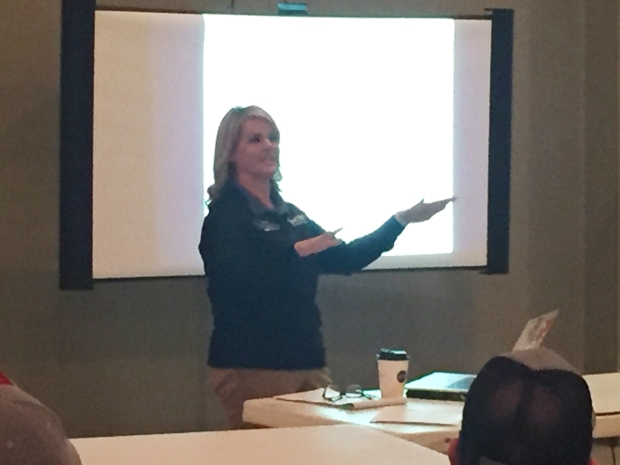 Encore Sports Medicine Athletic Trainer Lori Long conducting Coach Safely Training in Ozark, Alabama