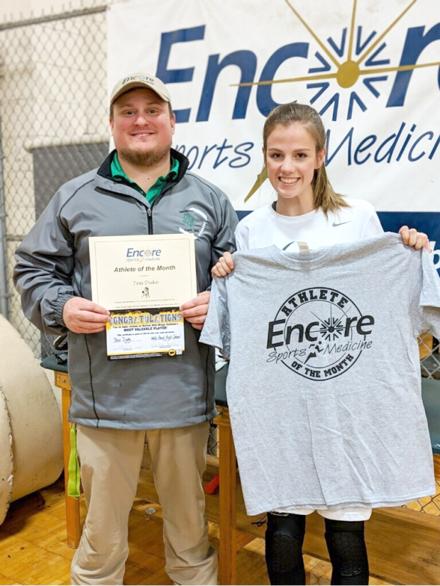 Tess Duke - Athlete of the Month for Holly Pond High School and Encore Rehabilitation-Cullman is shown here with Encore Sports Medicine Athletic Trainer Gage Brewer #EncoreRehab