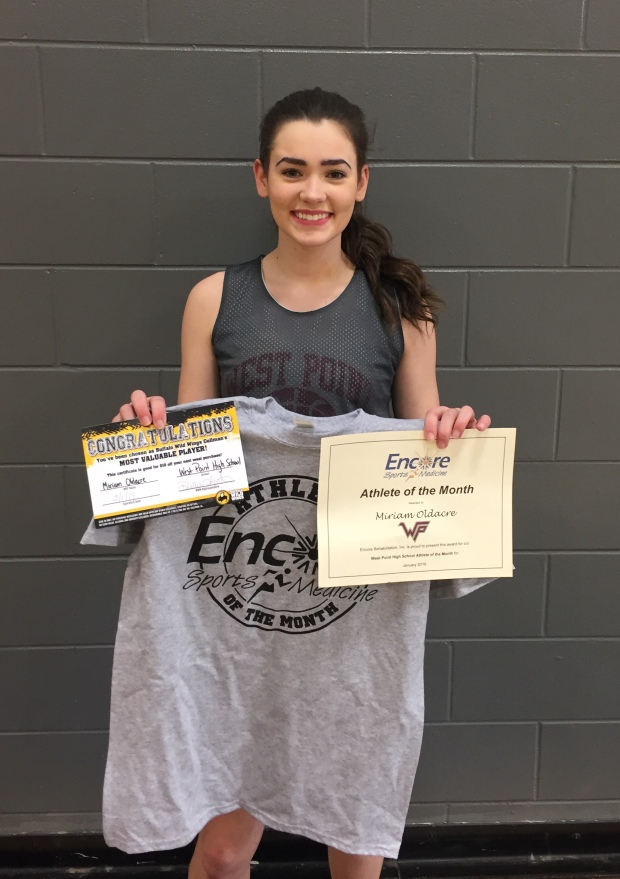 Miriam Oldacre is Athlete of the Month for West Point High School and Encore Rehabilitation-Cullman