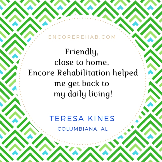 Teresa Kines gives recommendation for rehab at Encore Rehabilitation-Columbiana #EncoreRehab