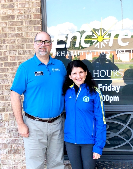 Boston Marathoner and Encore Rehabilitation Physical Therapist Bonnie Yesian, right, with Clinic Director Lee Borcik #EncoreRehab
