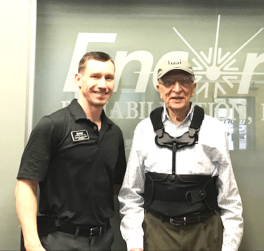 Clinical Director Justin Hargett, DPT, with Patient of the Month and WWII Veteran James Feezel #EncoreRehab