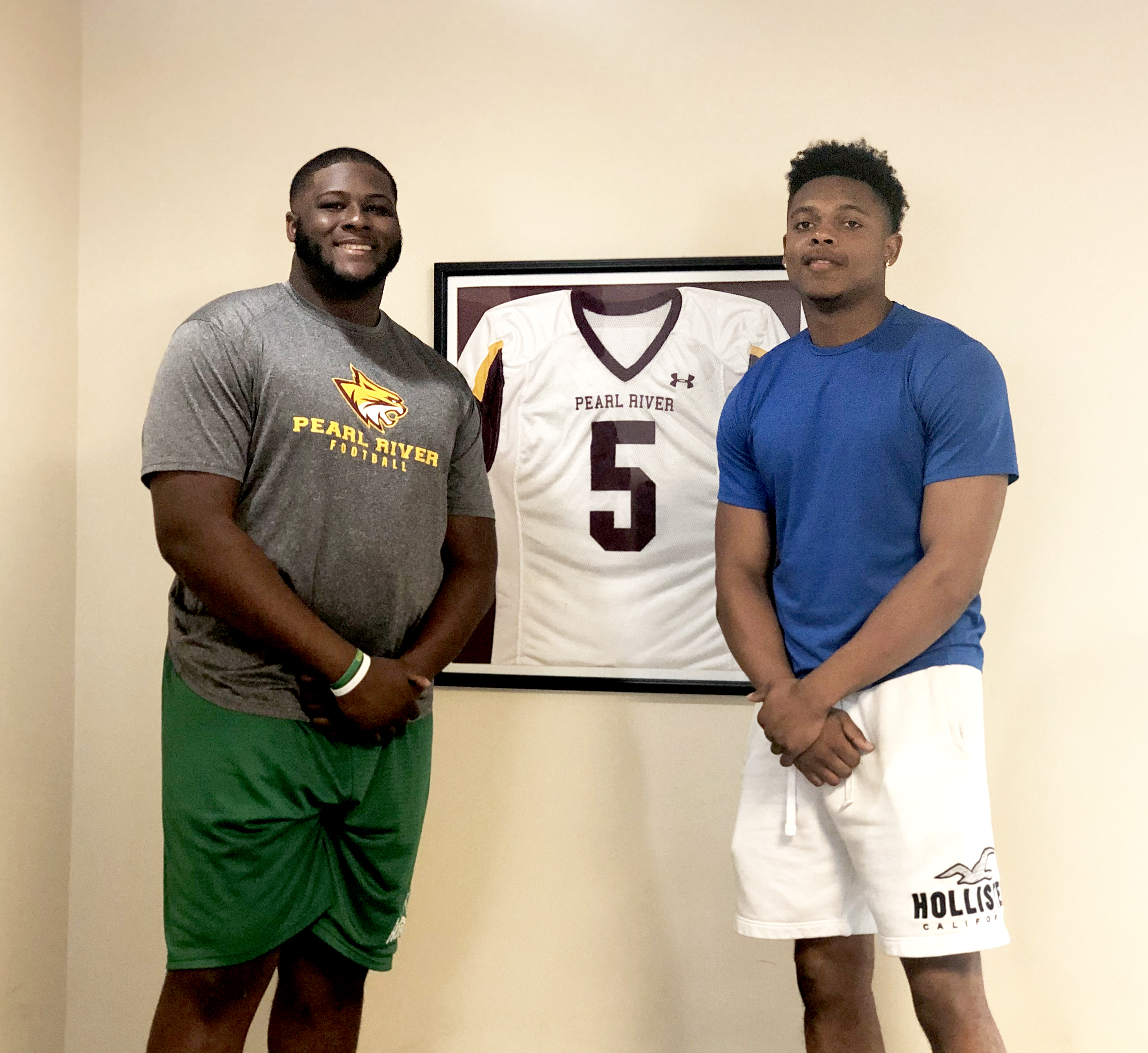 Zeke Chapman and Ronald Baker with Pearl River Community College Football