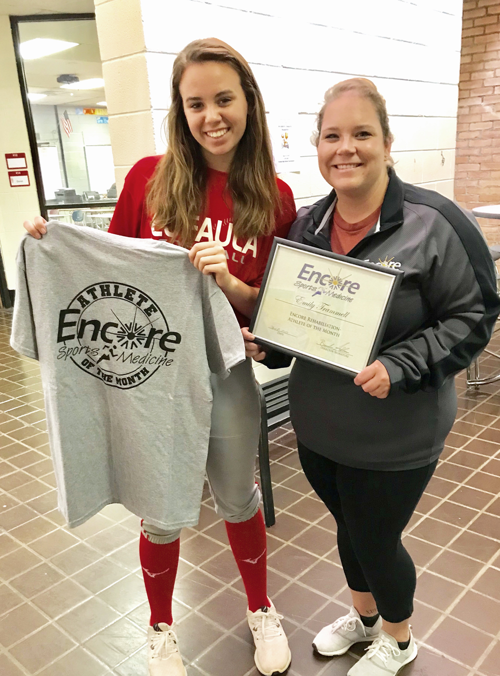 Emily Trammell is Athlete of the Month for Encore Rehabilitation-Eufaula, shown here with Athletic Trainer Jessica McManus #EncoreRehab