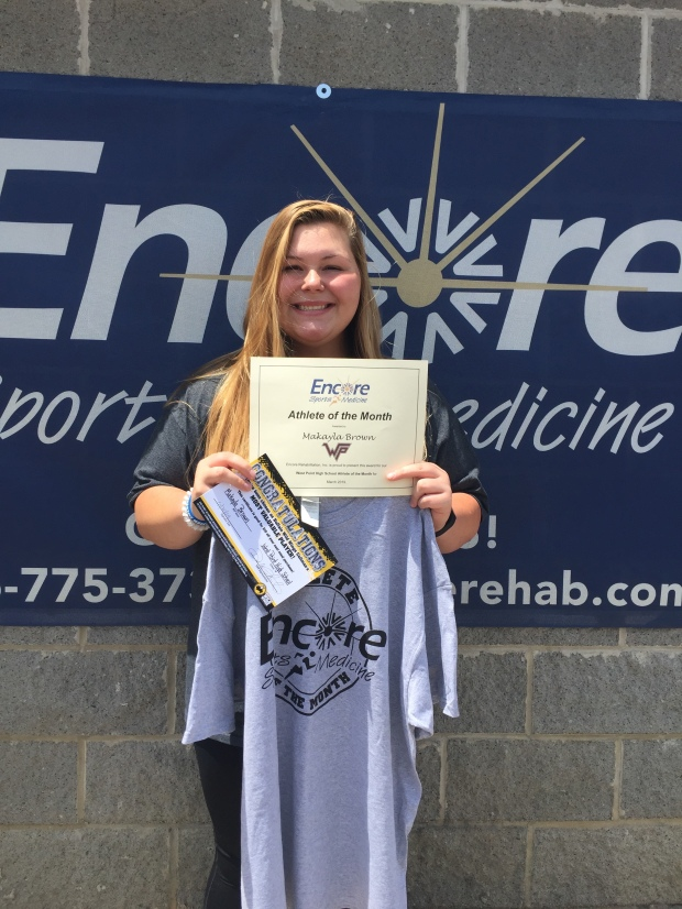 Makayla Brown is Athlete of the Month for West Point High School and Encore Rehabilitation-Cullman