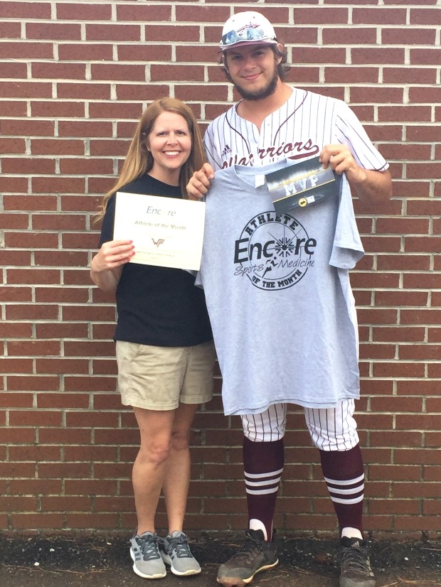 Rylan Jones, Athlete of the Month for West Point High School & Encore Rehabilitation-Cullman is pictured here with Encore Sports Medicine Athletic Trainer Donna Chamblee #EncoreRehab