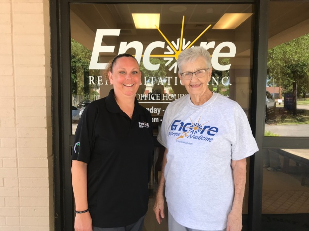 Pat Roach is Patient of the Month at Encore Rehabilitation-Enterprise, shown here with PT Technician Denise Turner #EncoreRehab