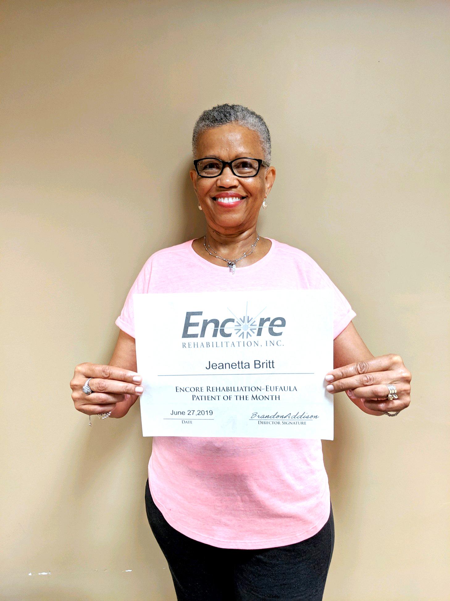Jeanetta Britt is Patient of the Month for Encore Rehabilitation-Eufaula #EncoreRehab