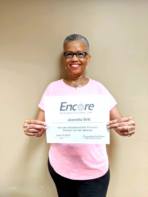 Jeanetta Britt is Patient of the Month for Encore Rehabilitation-Eufaula #EncoreRehab