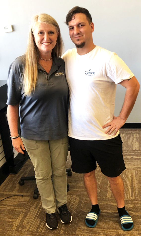 Patient of the Month Jeremy Gallups and Encore Rehabilitation Physical Therapist Assistant Marla Kizzire #EncoreRehab