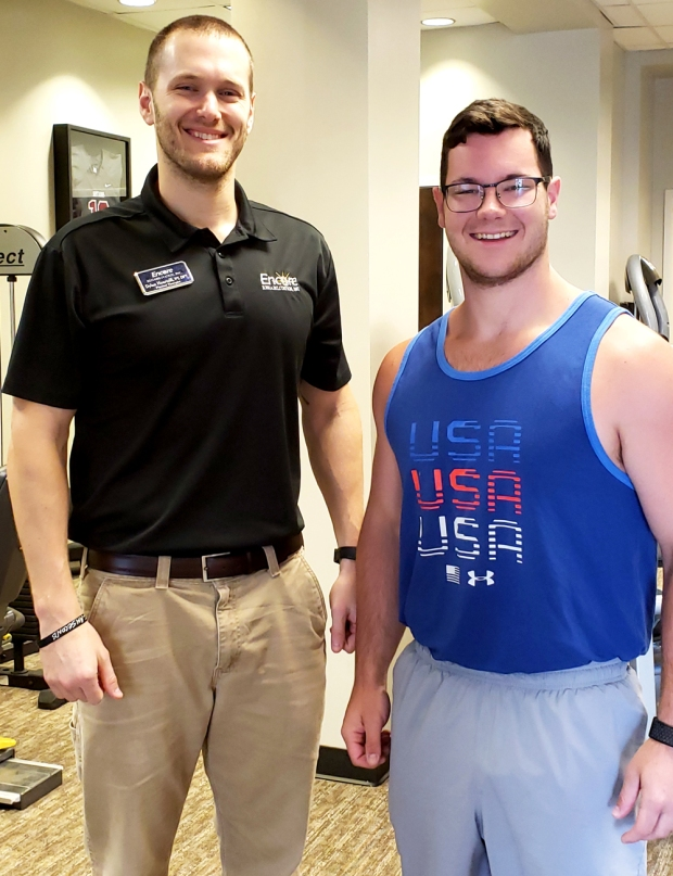 Patient of the Month Kyle Lease with Encore Rehabilitation-Prattville Clinic Director Dylan Heartsill #EncoreRehab