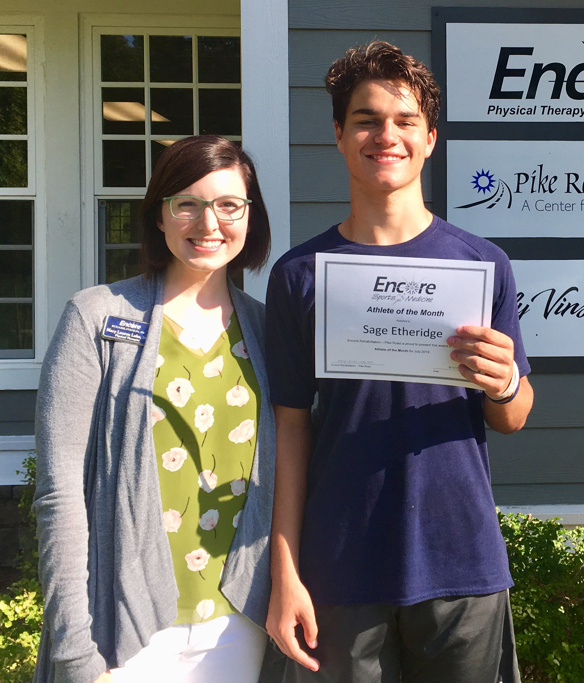 Sage Etheridge is Athlete of the Month for Encore Rehabilitation-Pike Road