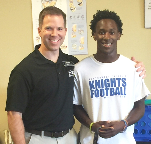 Encore Rehabilitation Physical Therapist Sy Banks with Orlando Whatley, Athlete of the Month for Encore Rehabilitation-Montgomery East