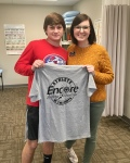 Colby Cox is Athlete of the Month for Encore Rehabilitation-Pike Road, shown here with Clinic Director Lauren Luke, DPT