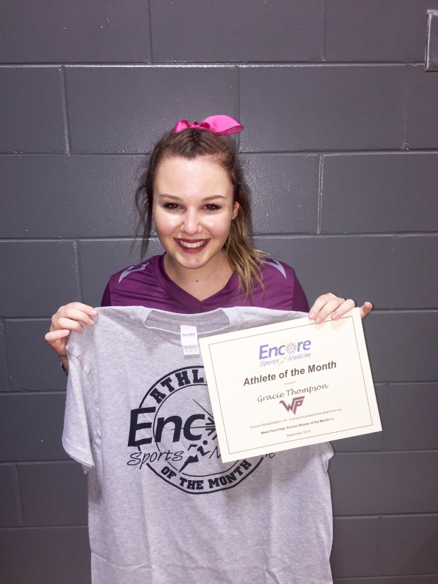 Gracie Thompson is Athlete of the Month for West Point High School and #EncoreRehab - Cullman