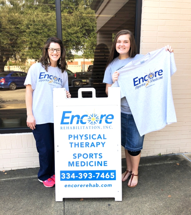 Christian Carpenter, LPTA, left, with Patient of the Month Kayleigh Adkins #EncoreRehab