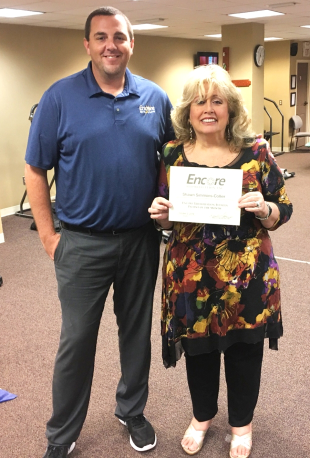 Patient of the Month Rev. Shawn Collier and Clinic Director Brandon Addison with #EncoreRehab Eufaula