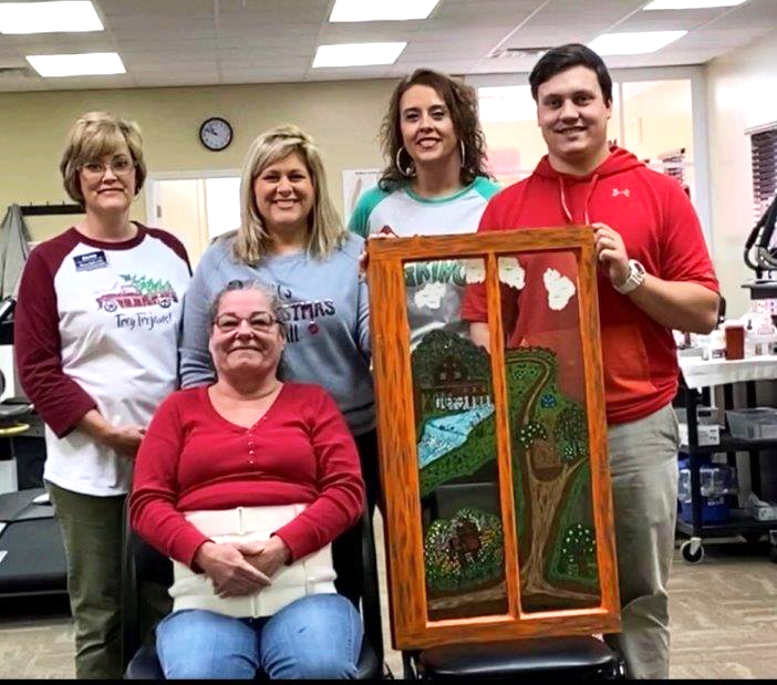 Thank you to Ms. Baney for the gift of a beautiful hand-painted window. #EncoreRehab Ozark
