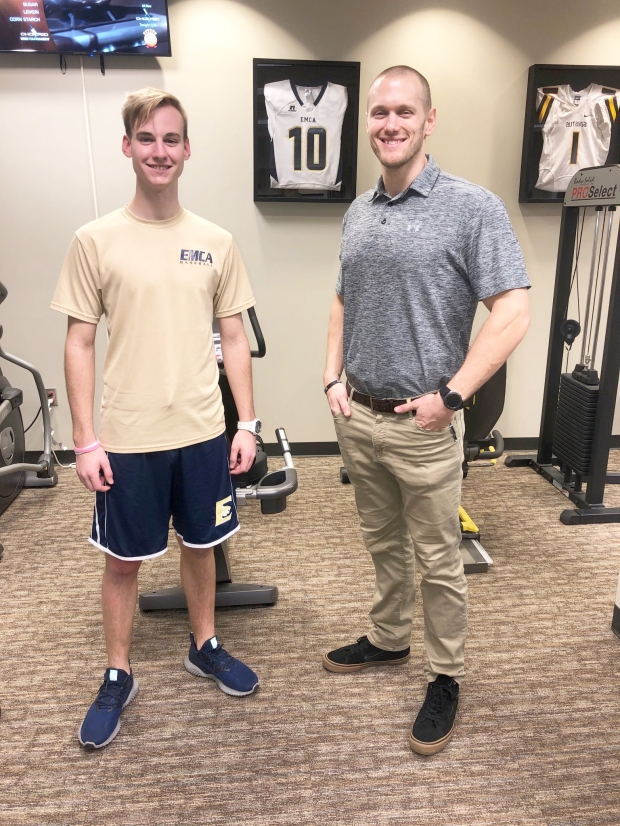 Athlete of the Month Palmer Easley with #EncoreRehab Prattville Clinic Director Dylan Heartsill, DPT
