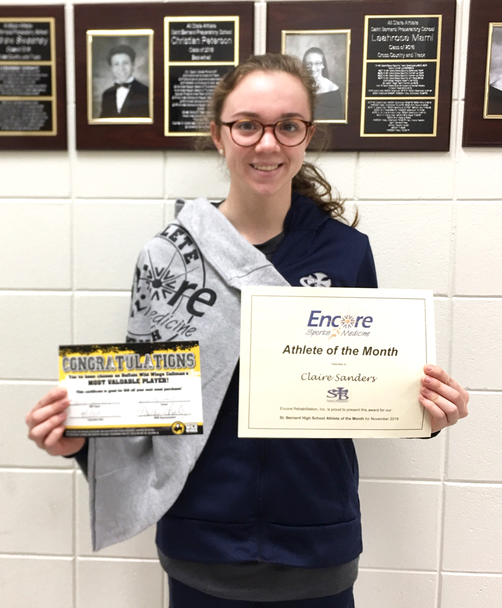Claire Sanders is Athlete of the Month for St. Bernard Preparatory and #EncoreRehab Cullman