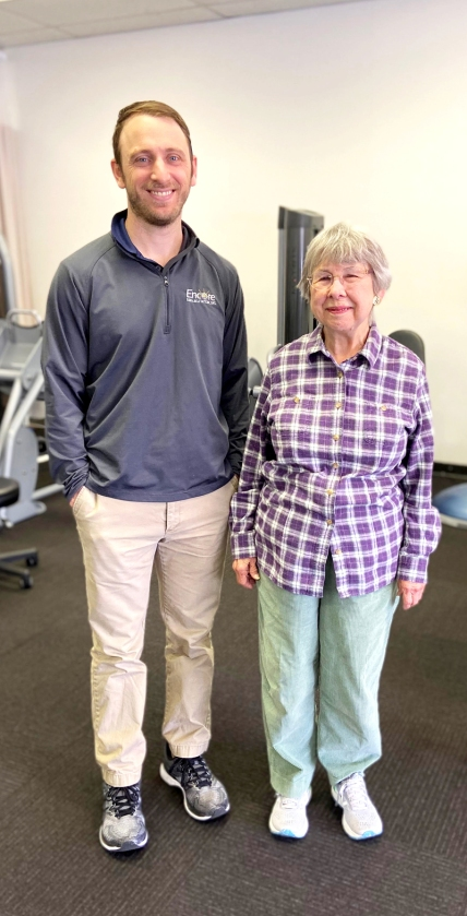 Patient of the Month Linda Pierce with Clinic Director Matt Woman, DPT